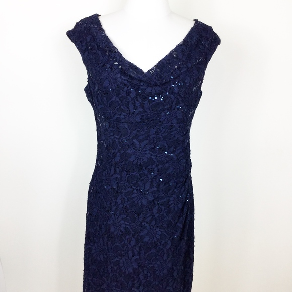 Lauren Ralph Lauren Dresses & Skirts - Lauren Ralph Lauren Navy Lace Dress Ruched sz. 10